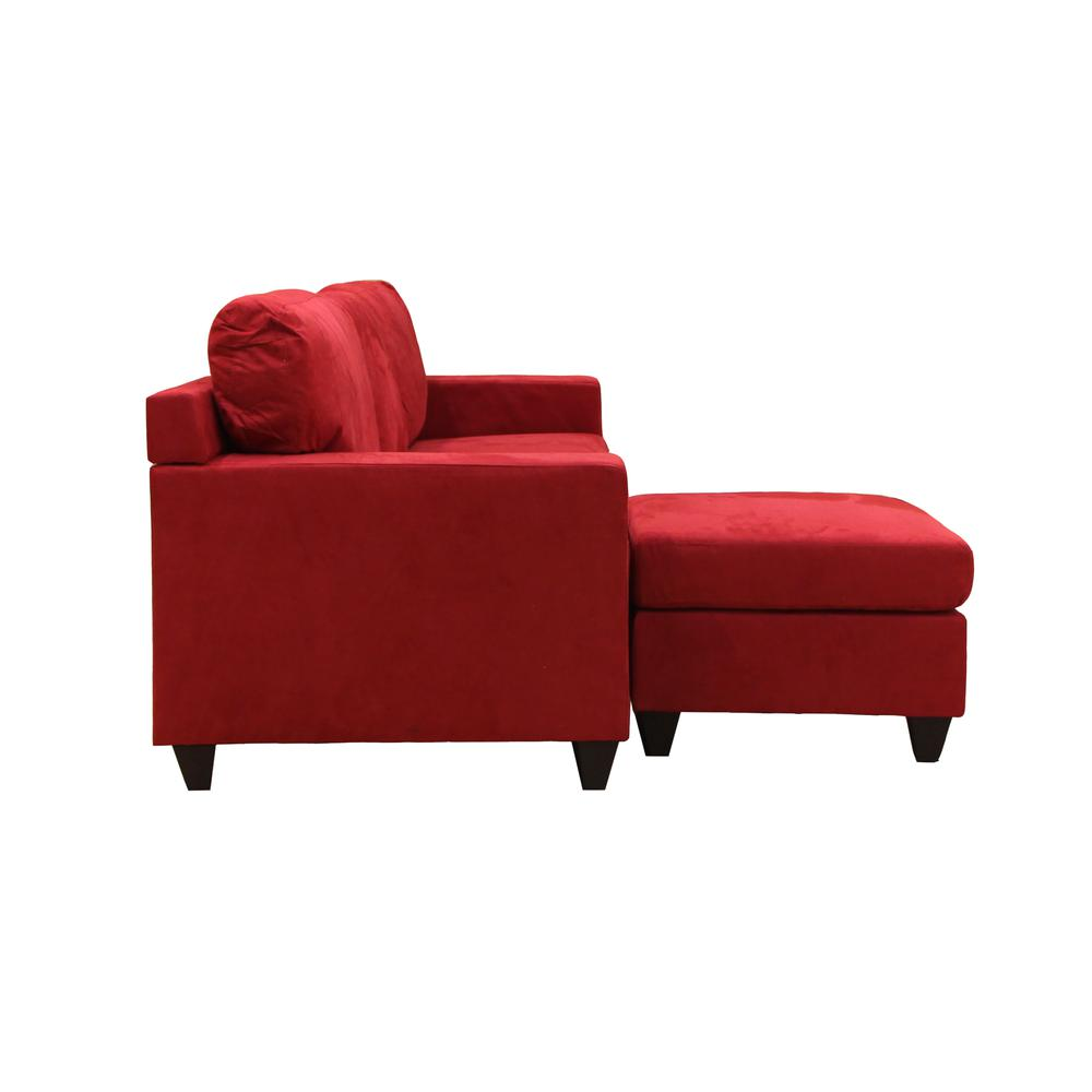 Vogue Sectional Sofa (Reversible Chaise), Red Microfiber. Picture 23