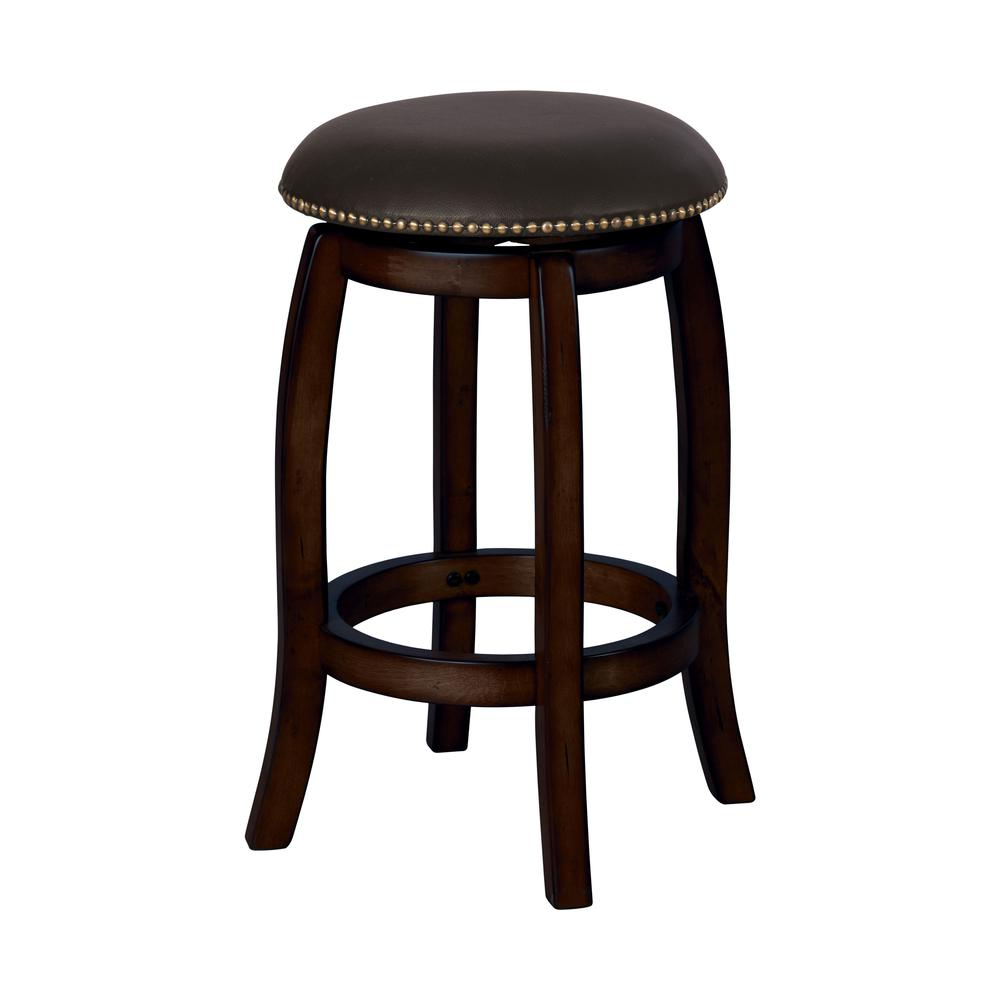 Chelsea Counter Height Stool with Swivel, Black Leather & Espresso. Picture 1