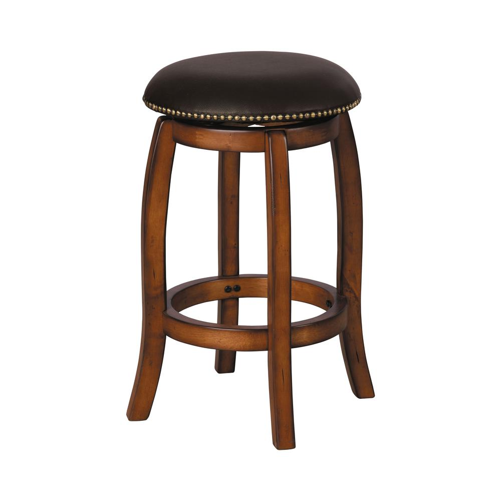 Chelsea Counter Height Stool with Swivel, Black Leather & Espresso. Picture 2