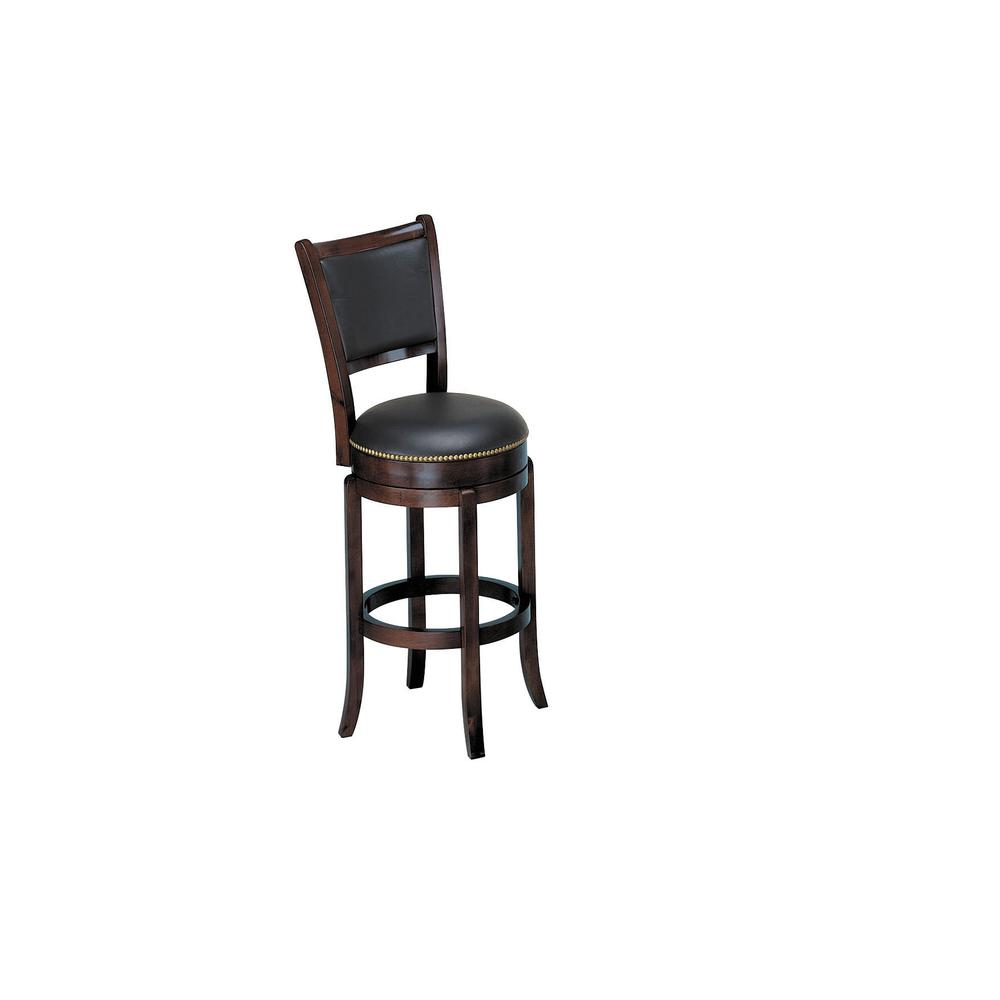 Chelsea Counter Height Stool with Swivel, Black Leather & Espresso. Picture 5