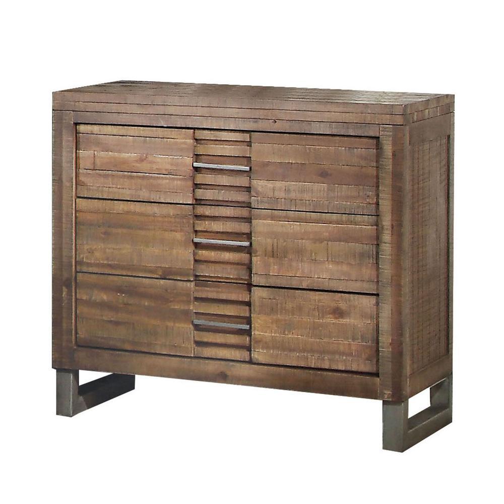 Andria Queen Bed, Reclaimed Oak (1Set/3Ctn). Picture 2
