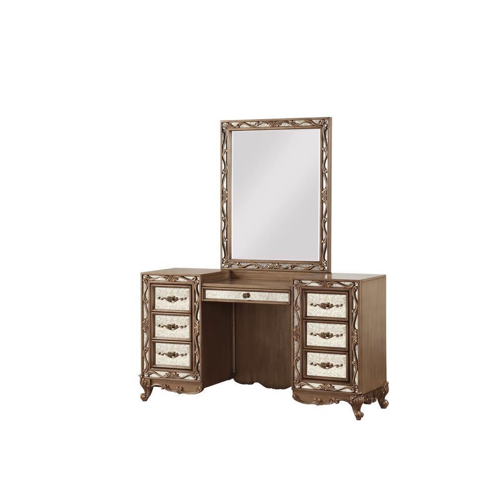 Orianne Vanity Desk, Antique Gold. Picture 1