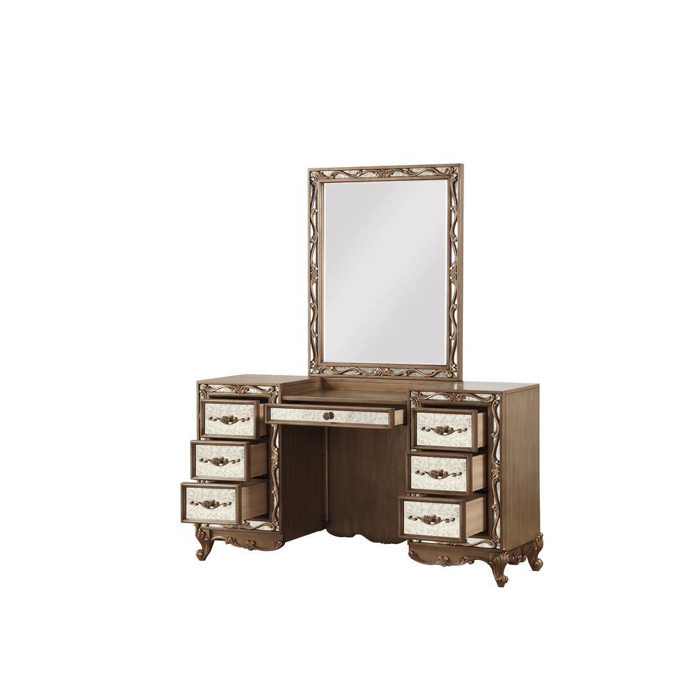 Orianne Vanity Desk, Antique Gold. Picture 2