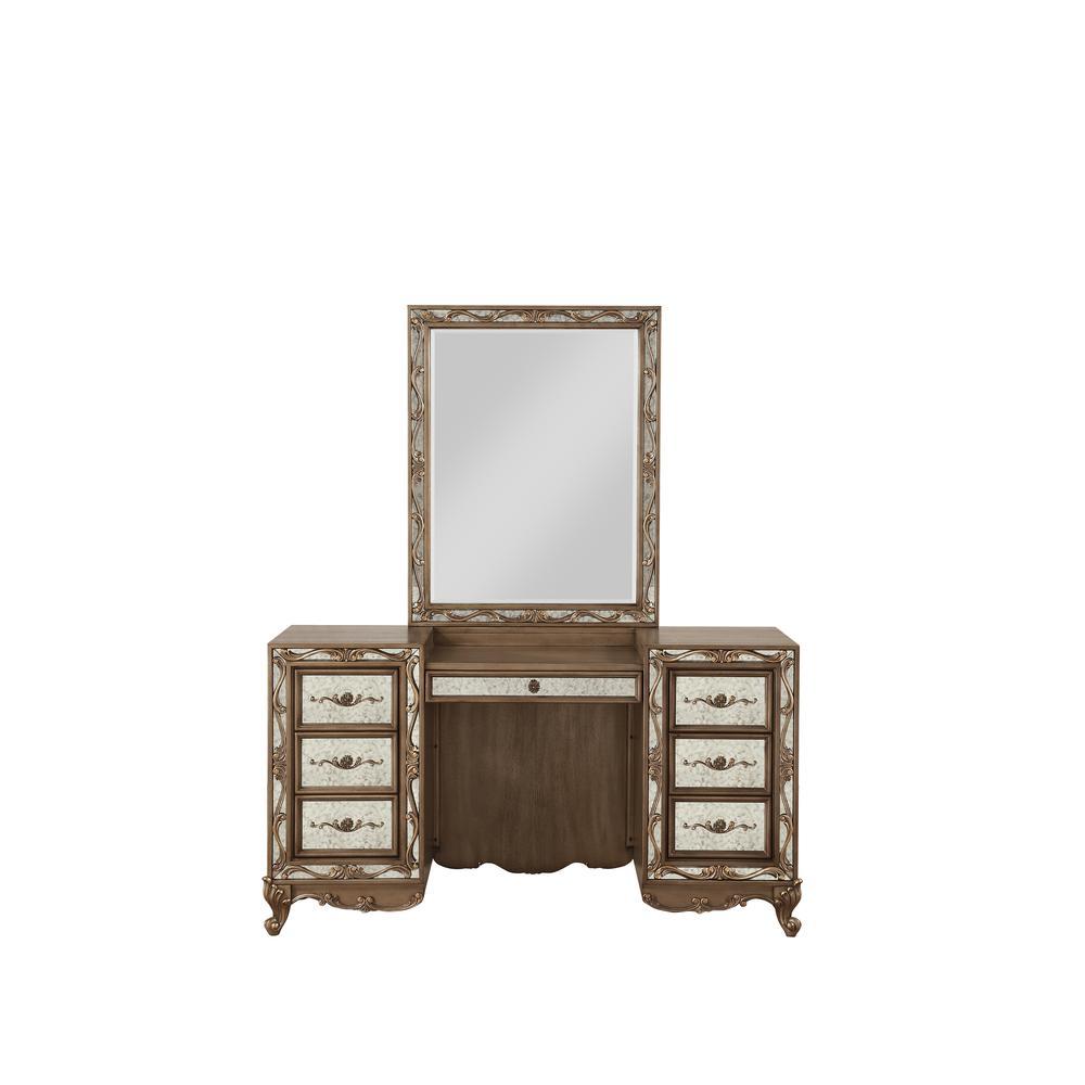 Orianne Vanity Desk, Antique Gold. Picture 4