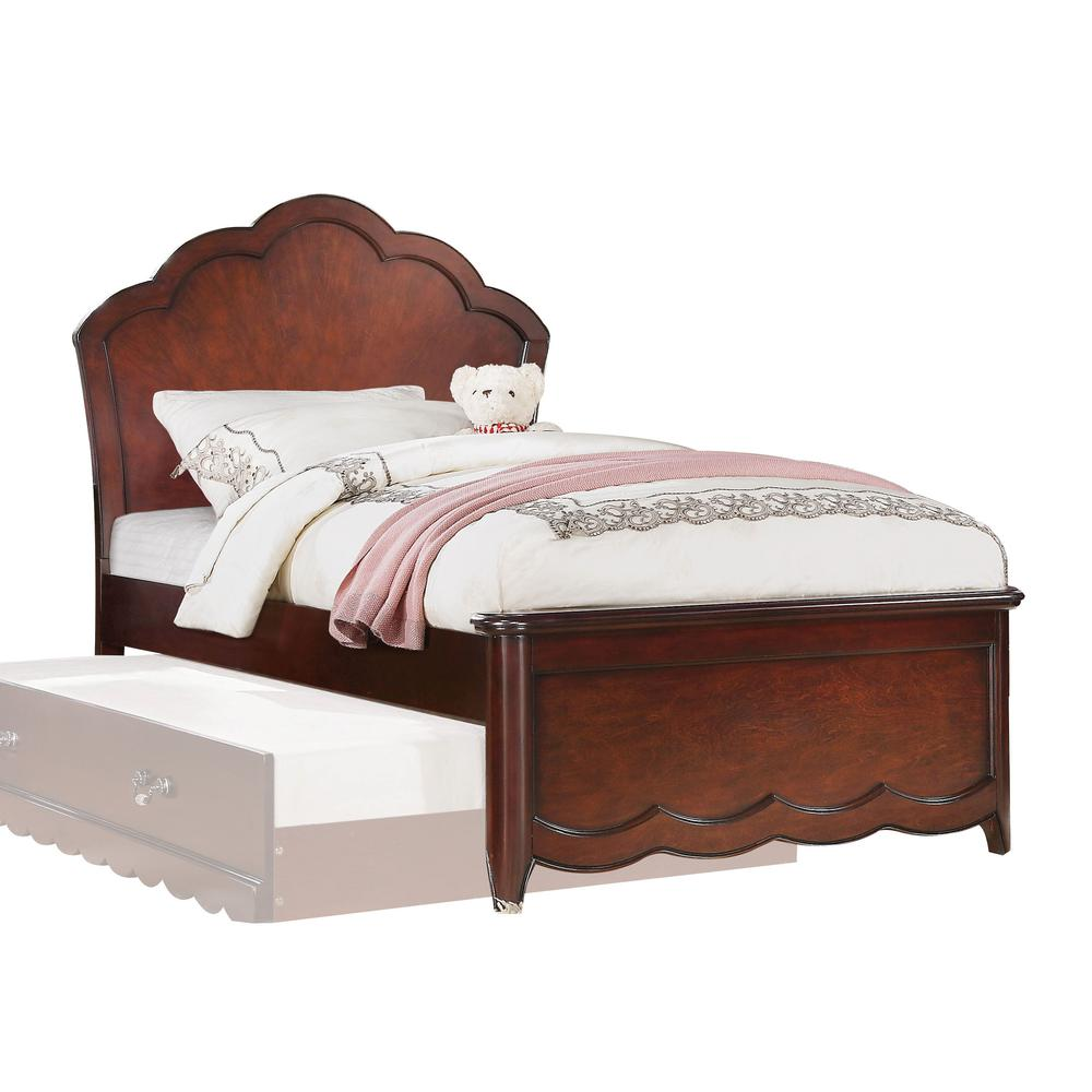 Cecilie Twin Bed, Light Pink PU & Cherry (1Set/3Ctn). Picture 2