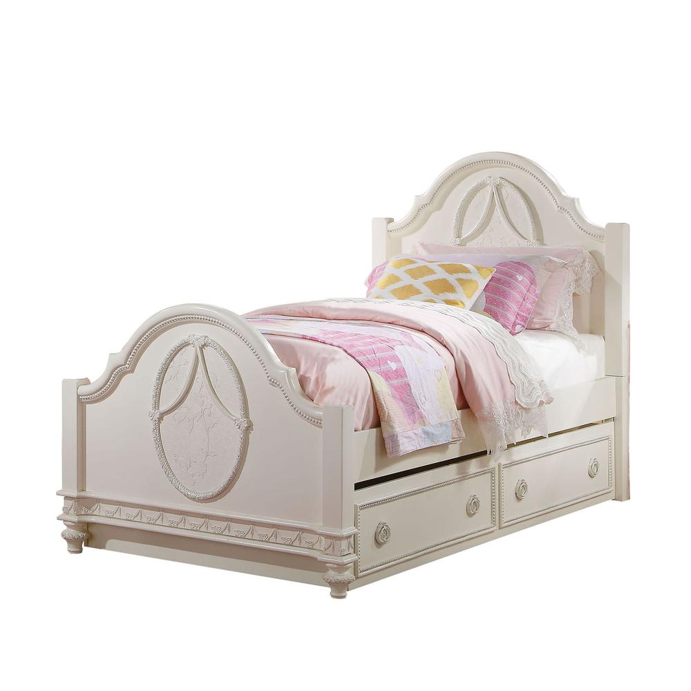 Dorothy Twin Bed (Padded), Pearl White PU & Ivory (1Set/3Ctn). Picture 3