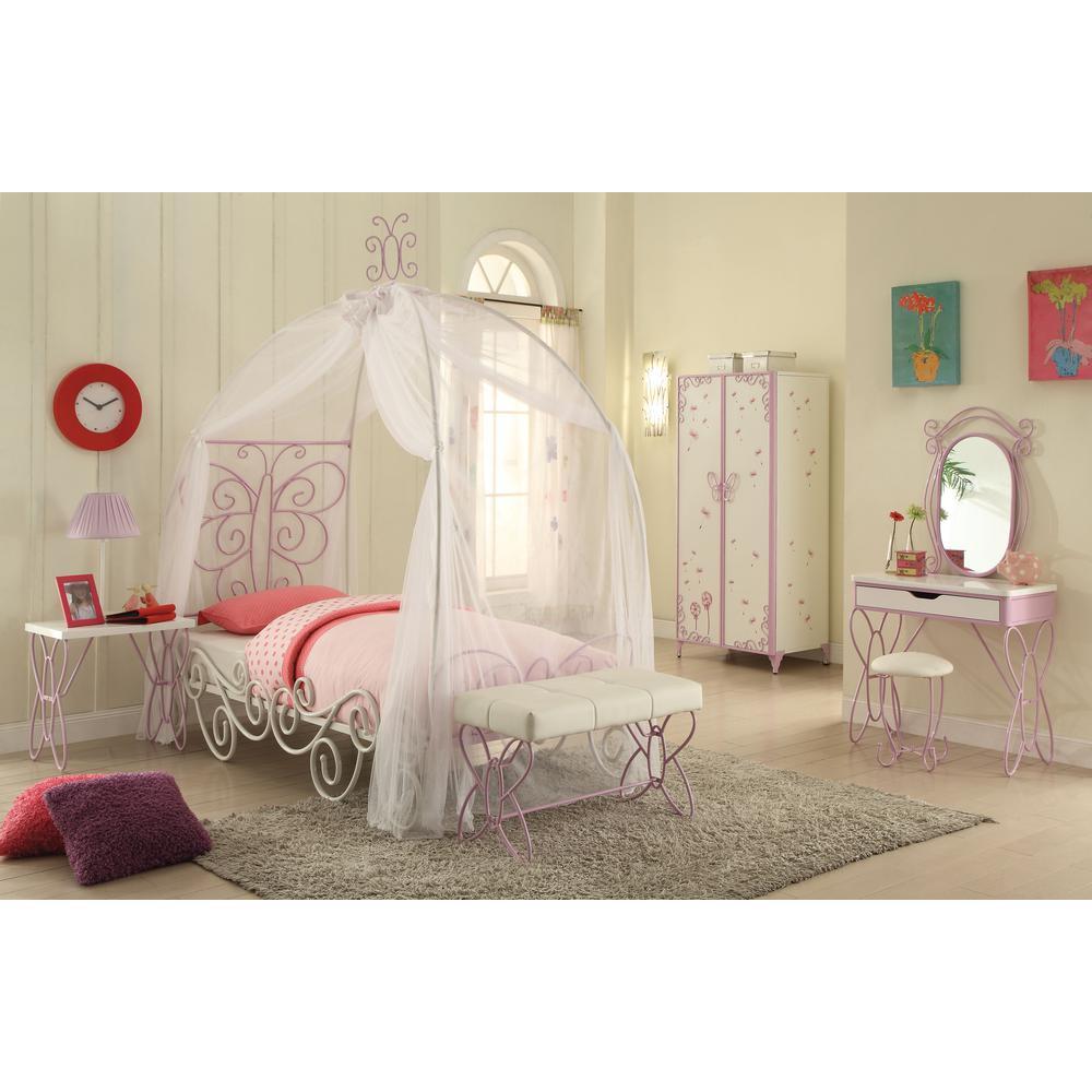 Priya II Full Bed w/Canopy, White & Light Purple. Picture 1