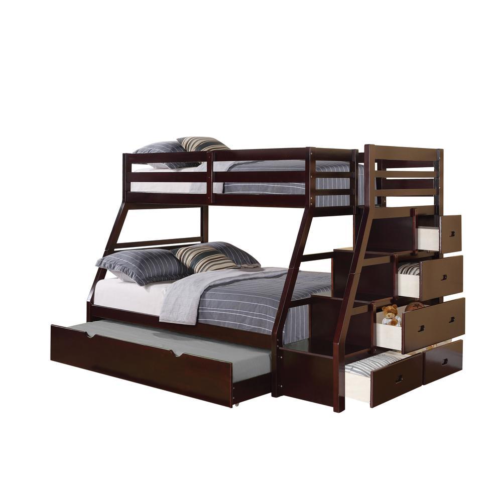 Jason Twin/Full Bunk Bed w/Storage Ladder & Trundle, Espresso (1Set/4Ctn). Picture 1