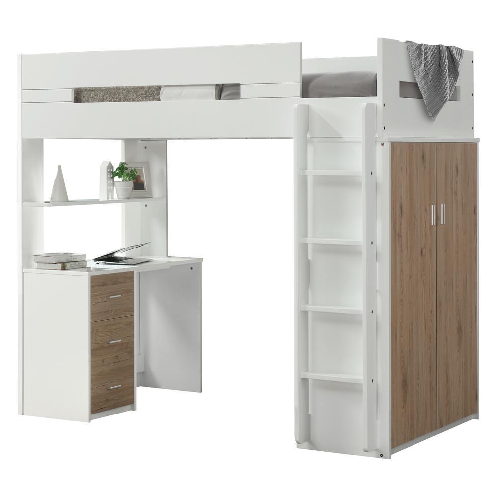 Nerice Loft Bed, White & Oak (1Set/5Ctn). Picture 4
