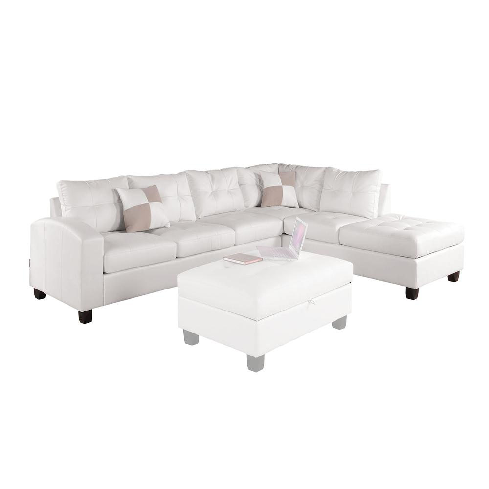 Kiva Sectional Sofa w/2 Pillows (Reversible), White Bonded Leather Match (1Set/2Ctn). Picture 1