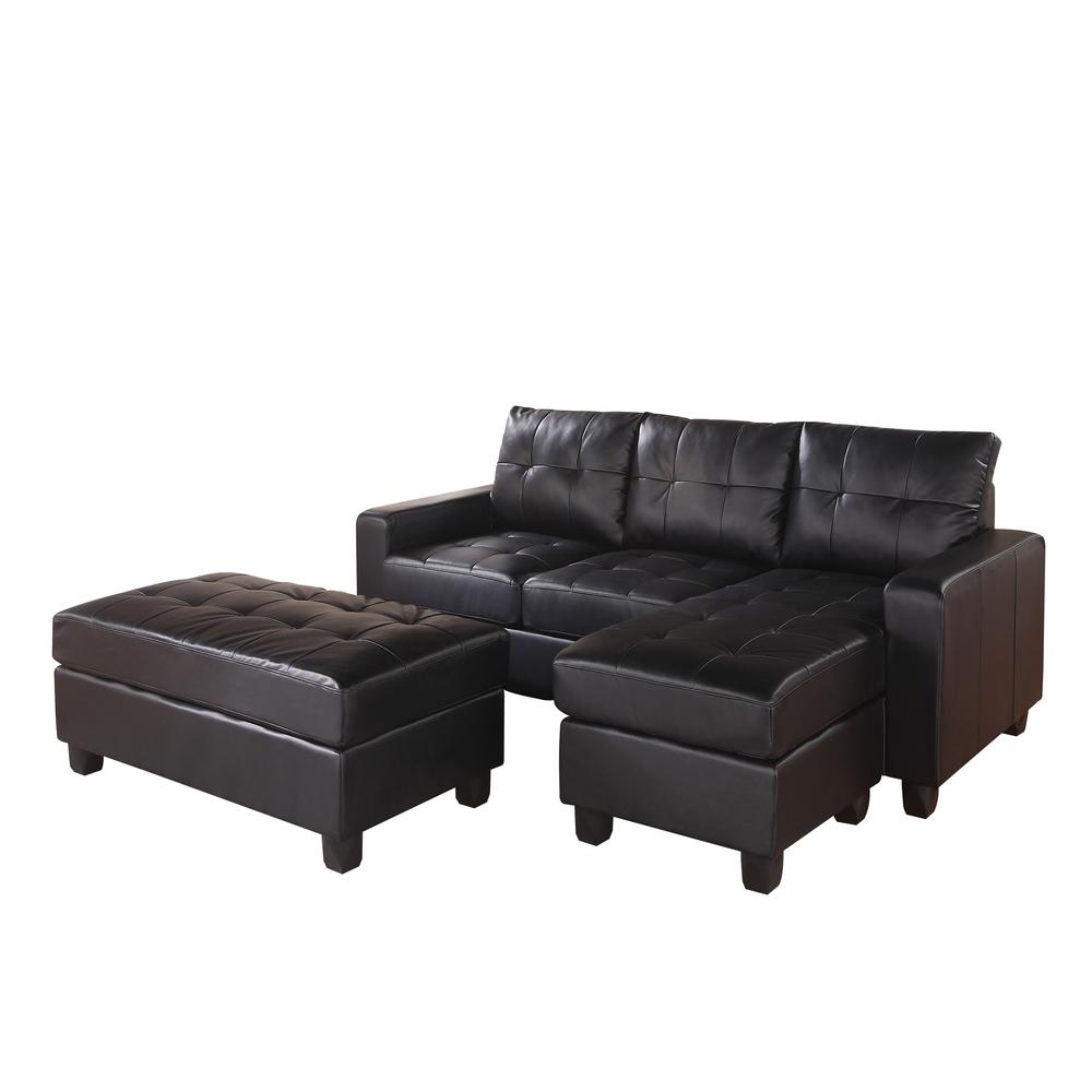 Lyssa Sectional Sofa w/Ottoman, Black Bonded Leather Match. Picture 2