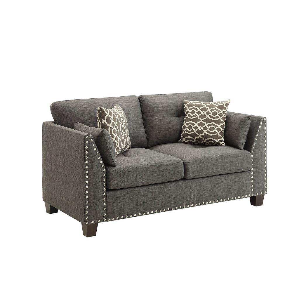 Laurissa Sofa w/4 Pillows, Light Charcoal Linen. Picture 7