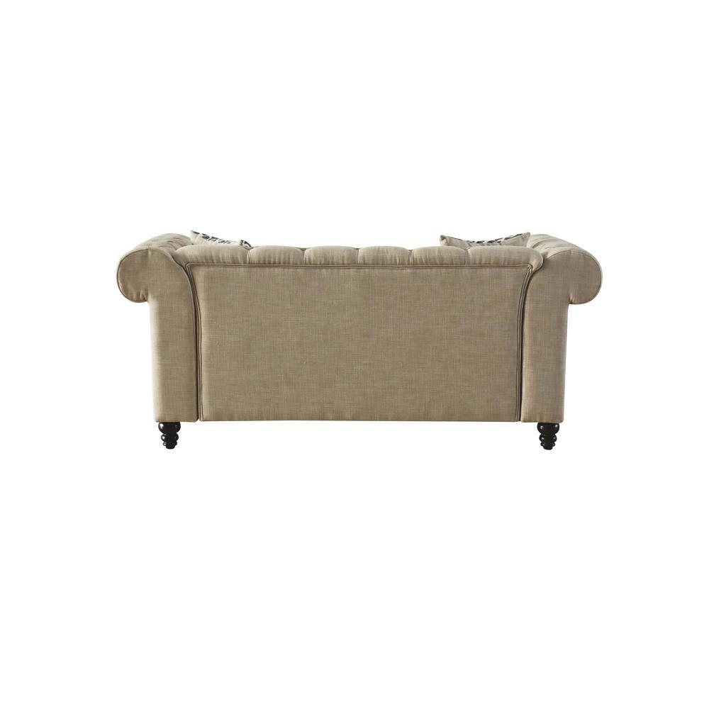 Aurelia Loveseat w/2 Pillows, Beige Linen. Picture 3