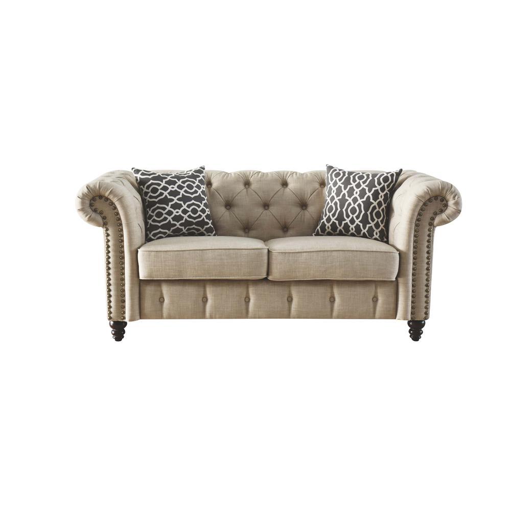 Aurelia Loveseat w/2 Pillows, Beige Linen. Picture 4