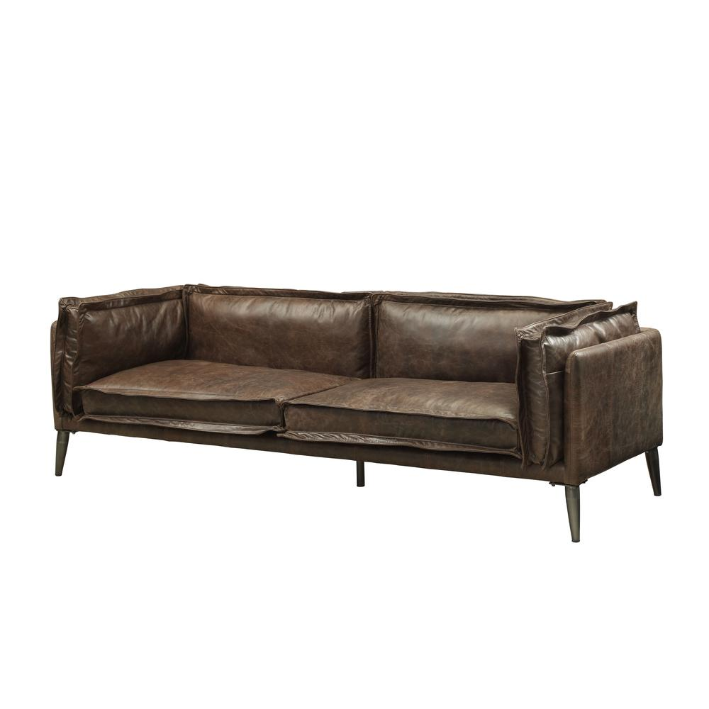 Porchester Loveseat, Distress Chocolate Top Grain Leather. Picture 1