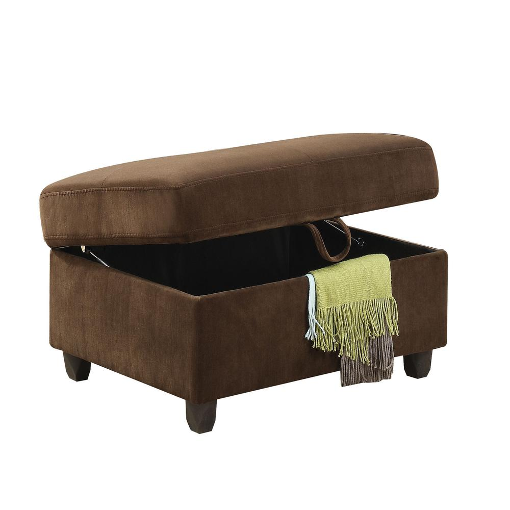 Belville Ottoman w/Storage, Chocolate Velvet. The main picture.