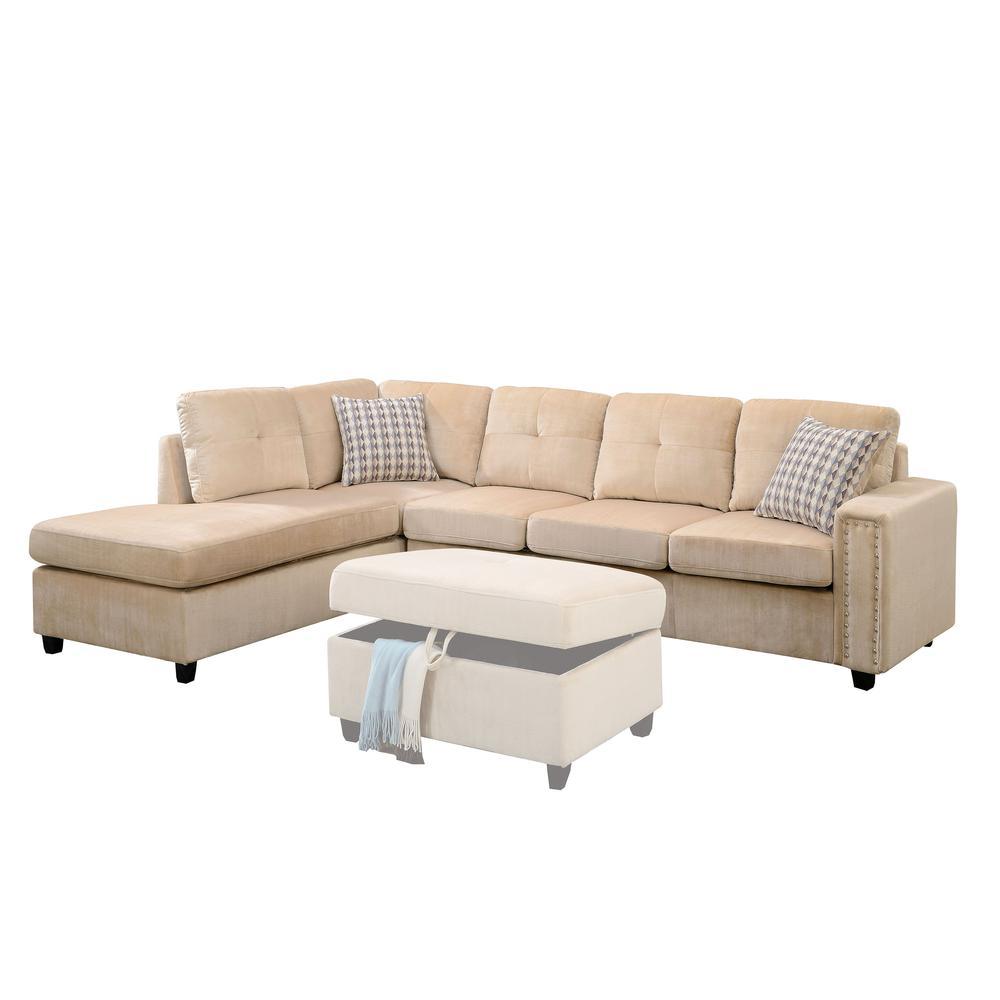 Belville Sectional Sofa w/Pillows (Reversible), Beige Velvet (1Set/2Ctn). Picture 1