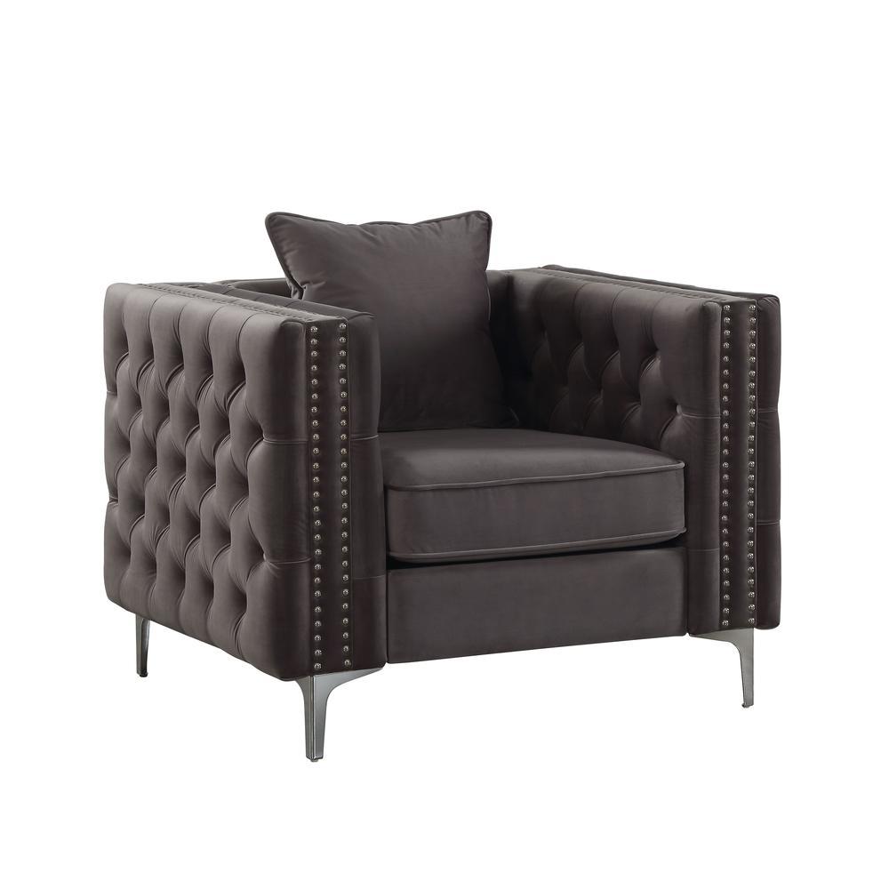 Gillian II Chair w/1 Pillow, Dark Gray Velvet (1Set/2Ctn). Picture 3