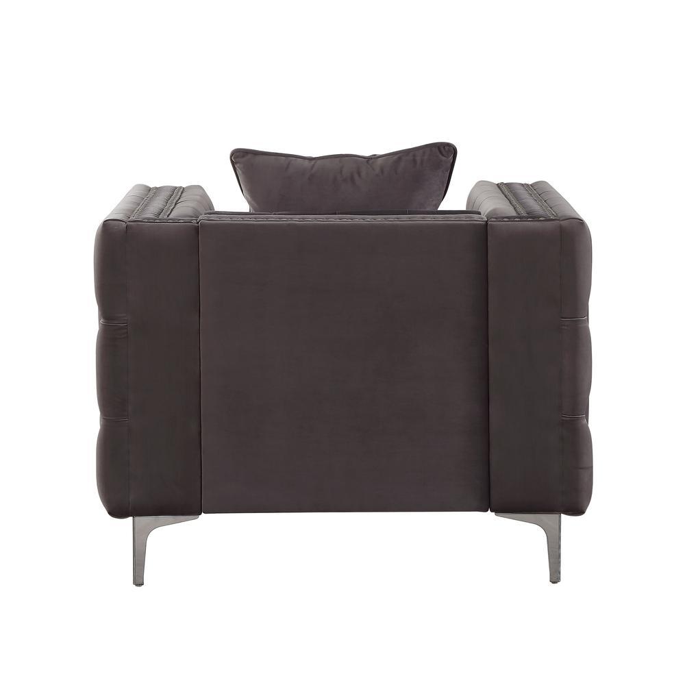 Gillian II Chair w/1 Pillow, Dark Gray Velvet (1Set/2Ctn). Picture 4