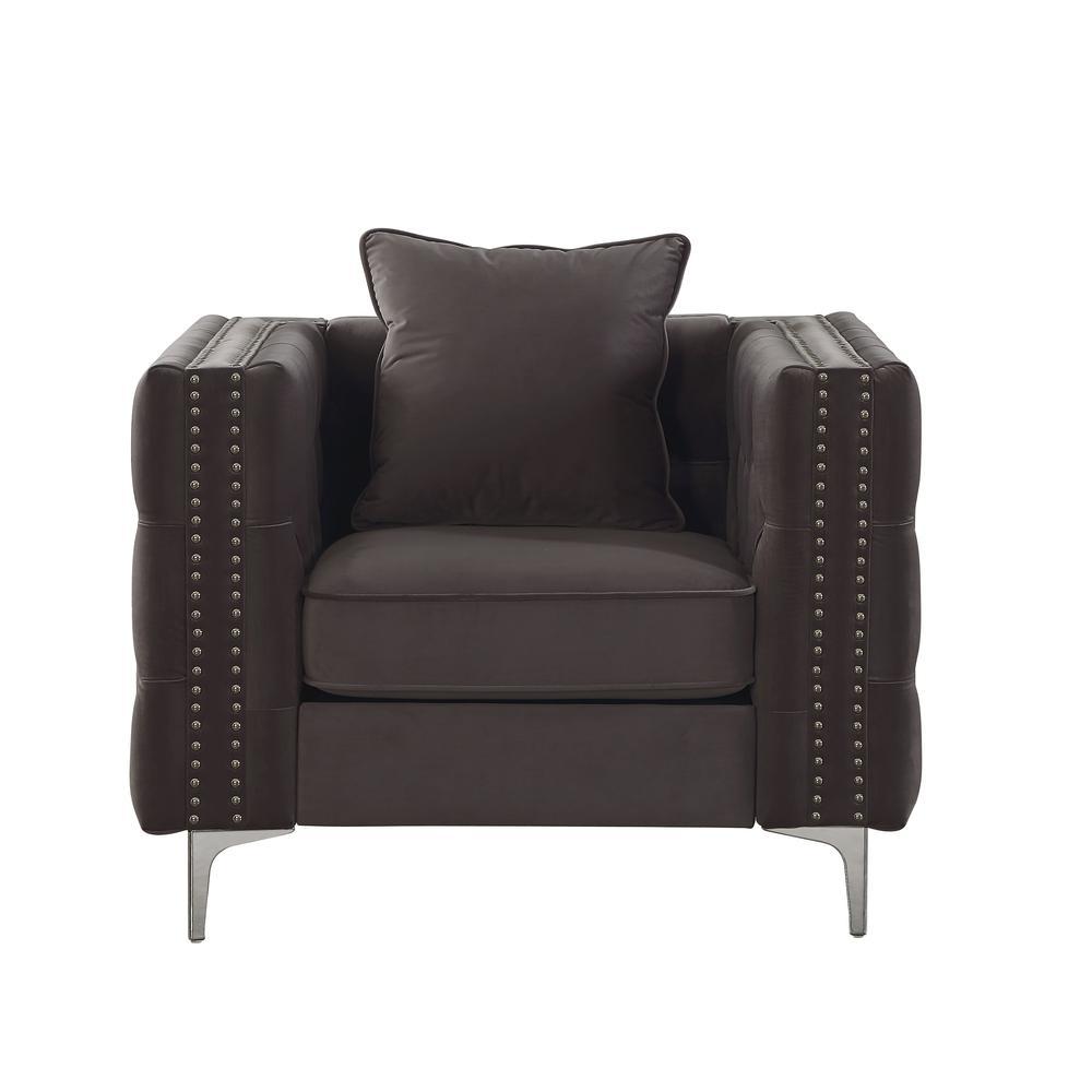 Gillian II Chair w/1 Pillow, Dark Gray Velvet (1Set/2Ctn). Picture 5
