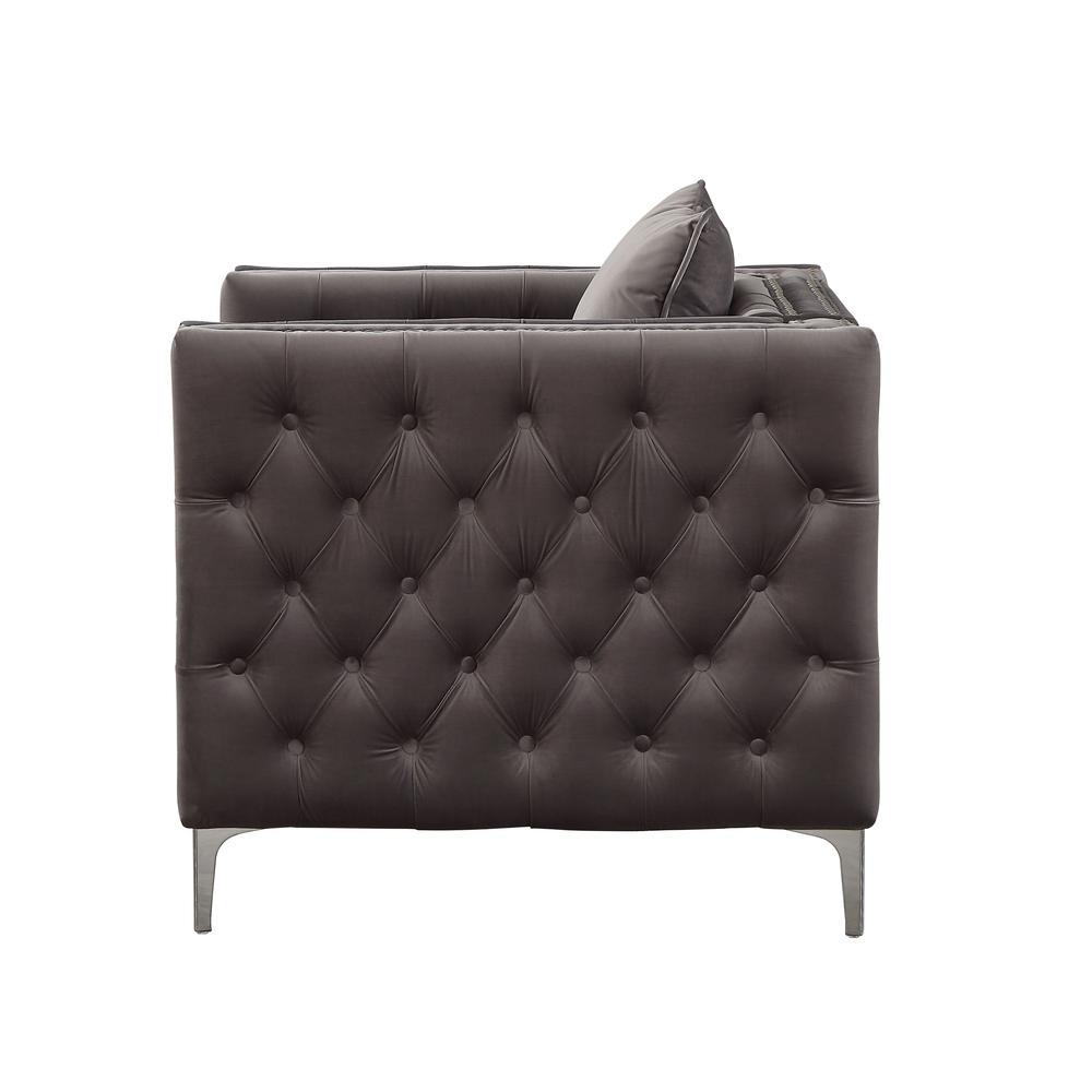 Gillian II Chair w/1 Pillow, Dark Gray Velvet (1Set/2Ctn). Picture 6
