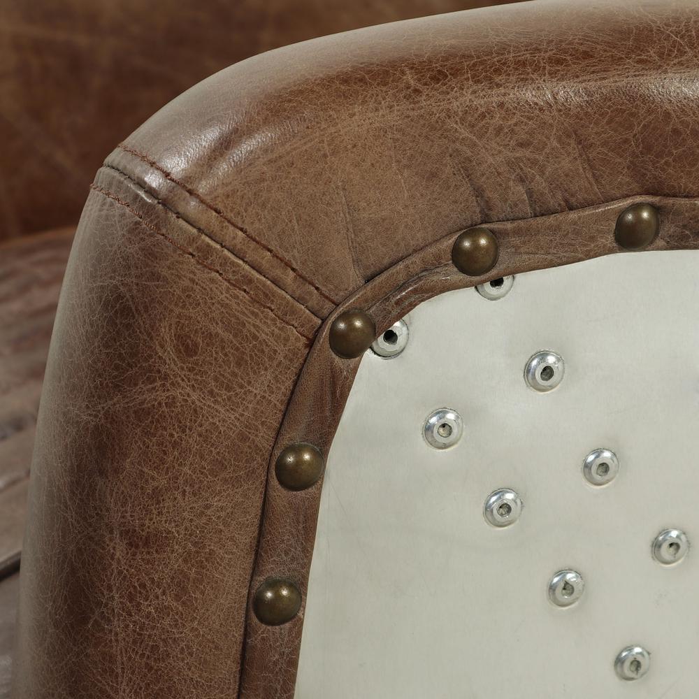 Brancaster Loveseat, Retro Brown Top Grain Leather & Aluminum. Picture 1