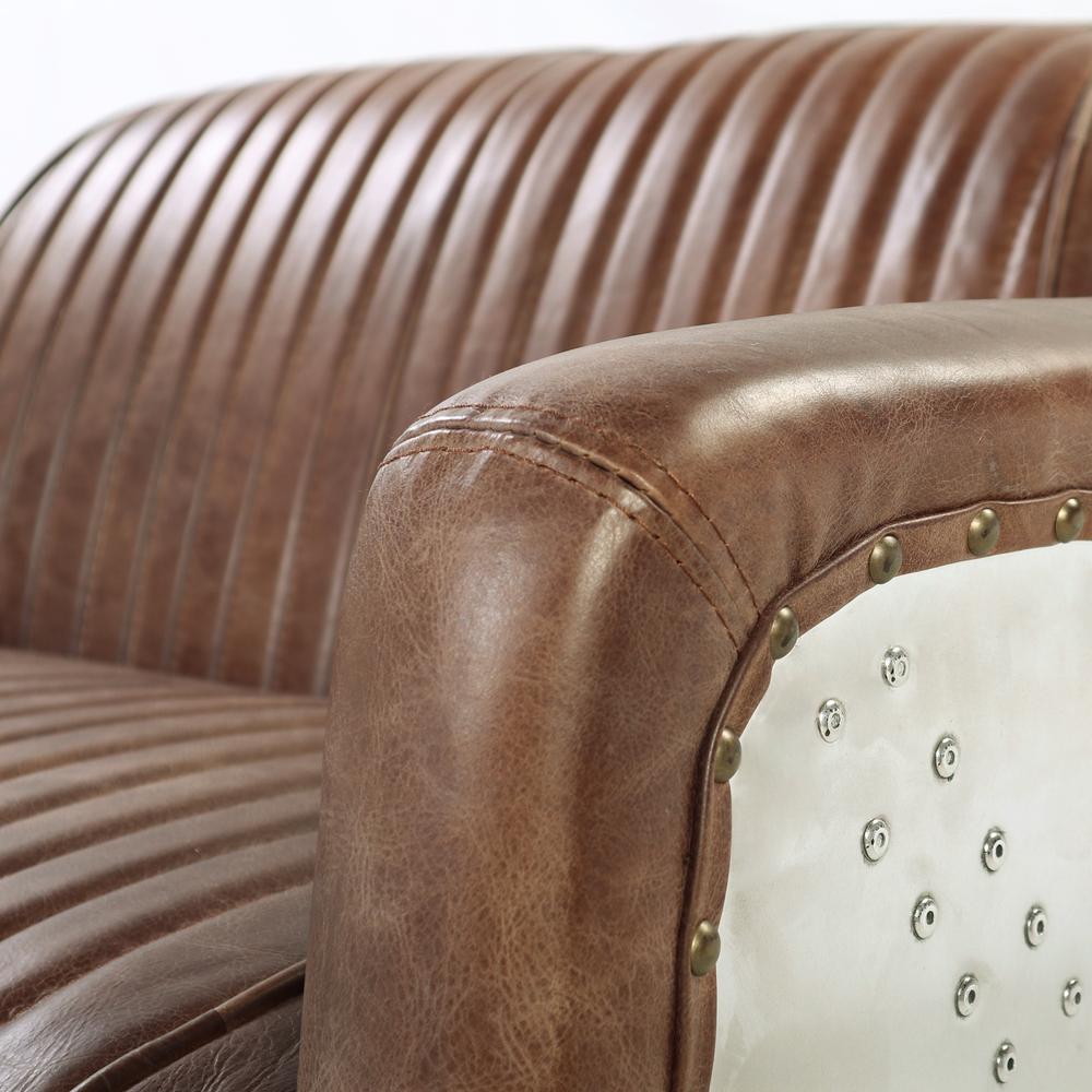 Brancaster Loveseat, Retro Brown Top Grain Leather & Aluminum. Picture 2