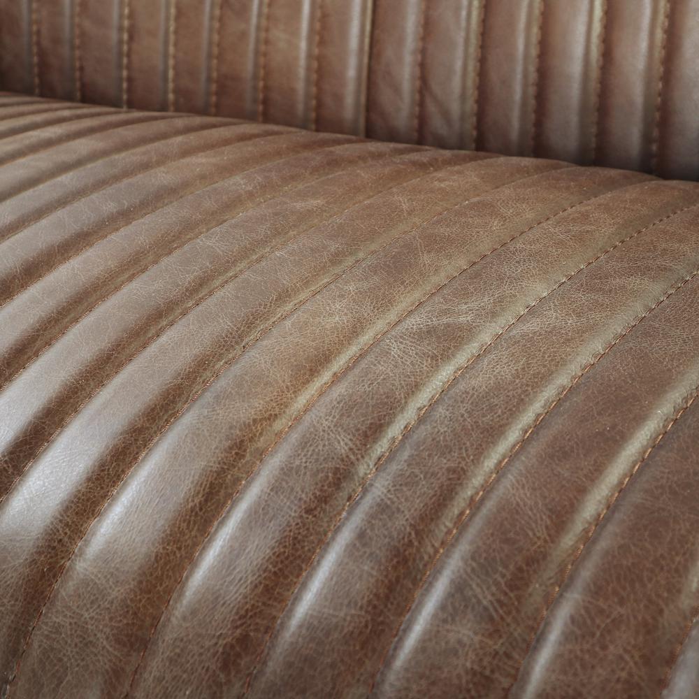 Brancaster Loveseat, Retro Brown Top Grain Leather & Aluminum. Picture 3