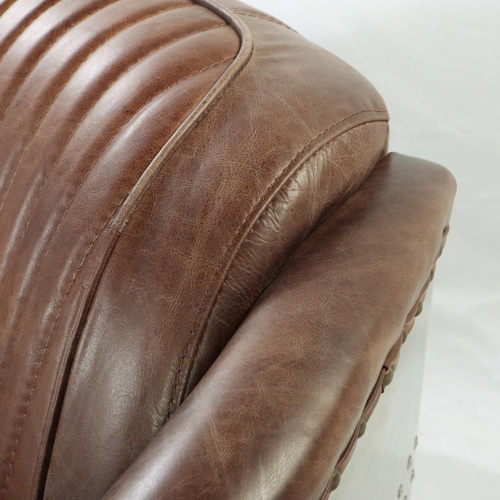 Brancaster Loveseat, Retro Brown Top Grain Leather & Aluminum. Picture 4