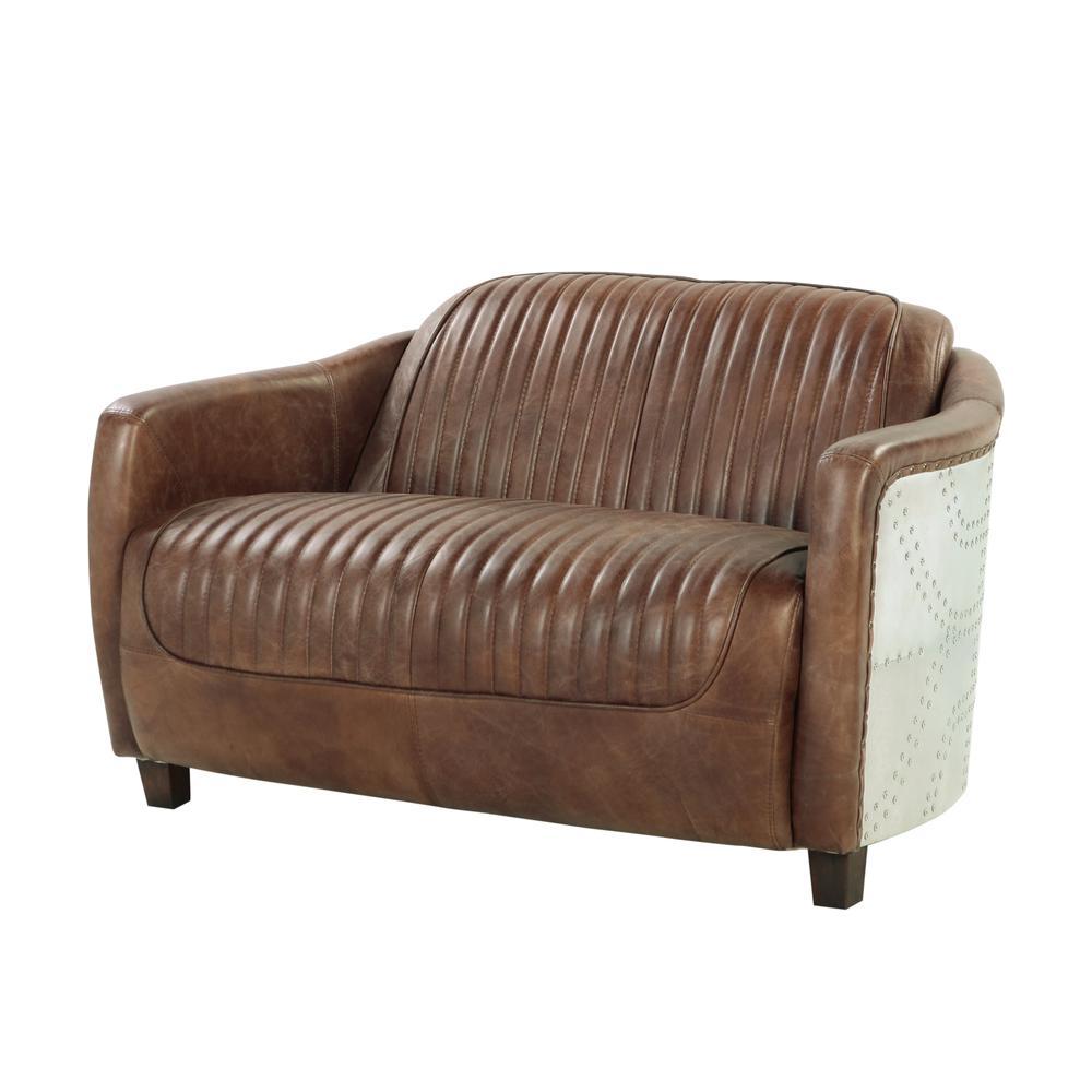 Brancaster Loveseat, Retro Brown Top Grain Leather & Aluminum. Picture 5