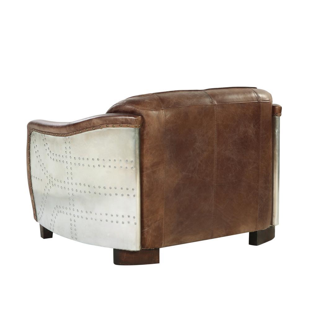 Brancaster Loveseat, Retro Brown Top Grain Leather & Aluminum. Picture 6