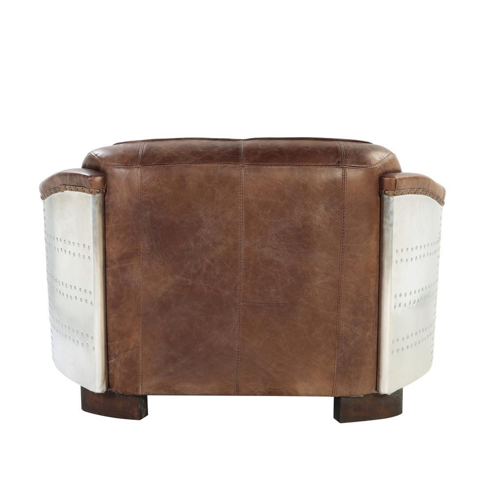 Brancaster Loveseat, Retro Brown Top Grain Leather & Aluminum. Picture 7
