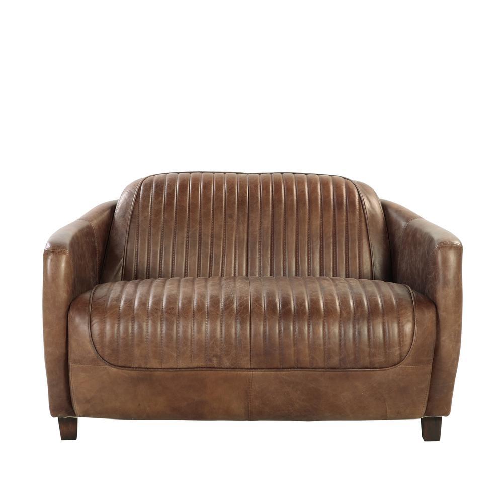 Brancaster Loveseat, Retro Brown Top Grain Leather & Aluminum. Picture 8