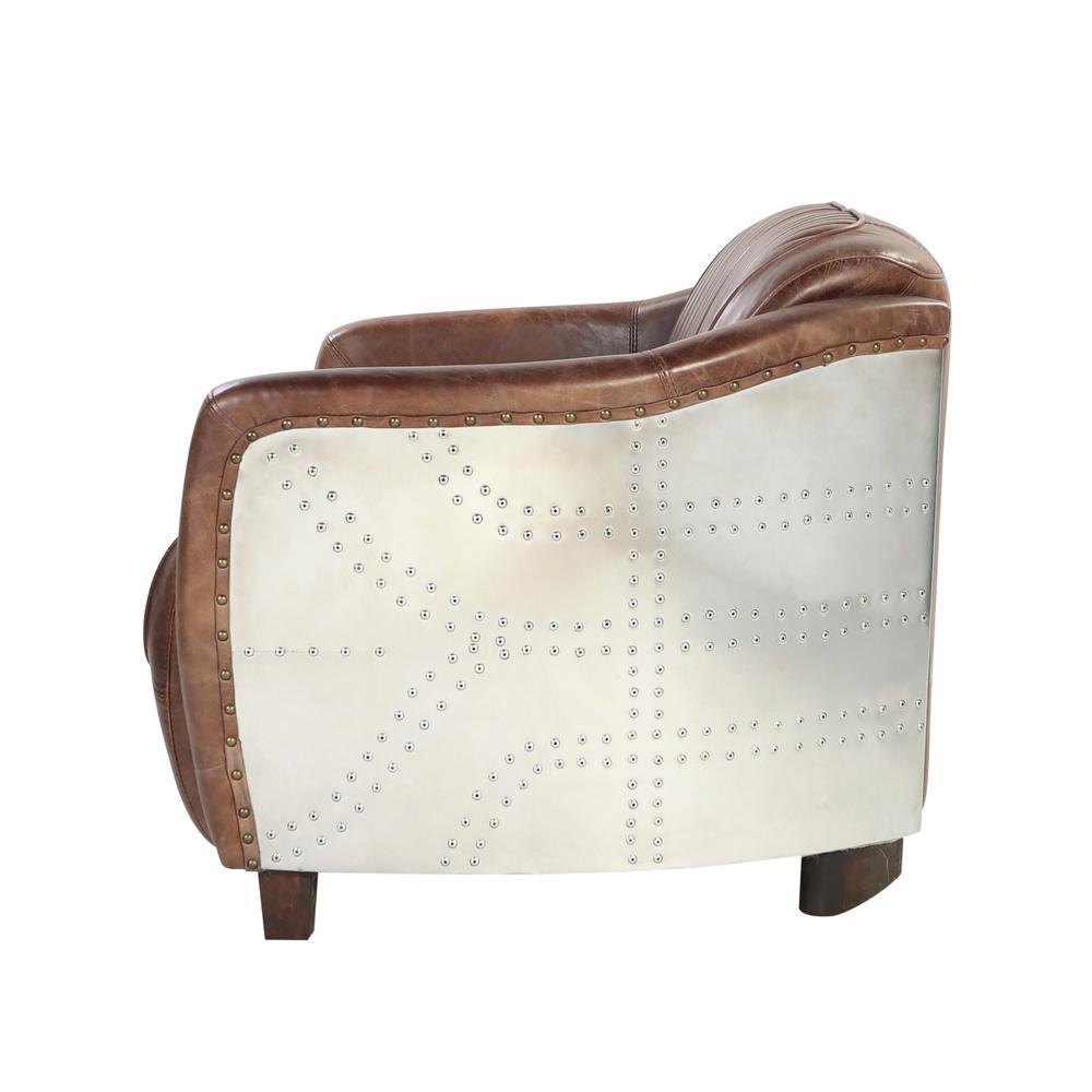 Brancaster Loveseat, Retro Brown Top Grain Leather & Aluminum. Picture 9