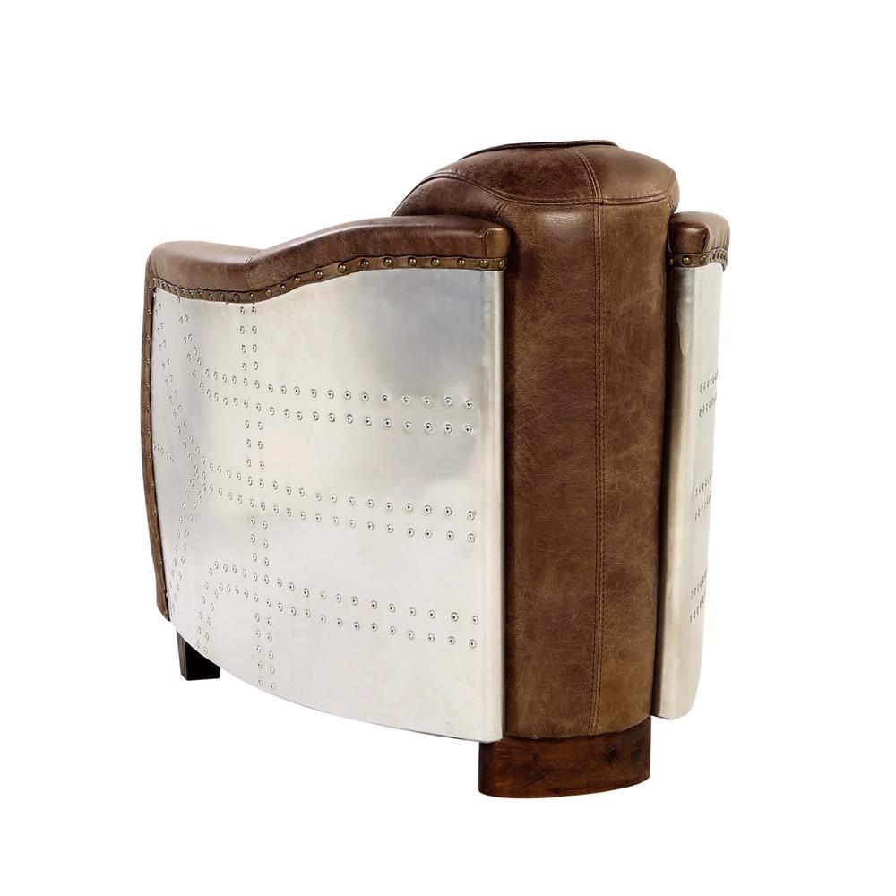 Brancaster Chair, Retro Brown Top Grain Leather & Aluminum. Picture 7