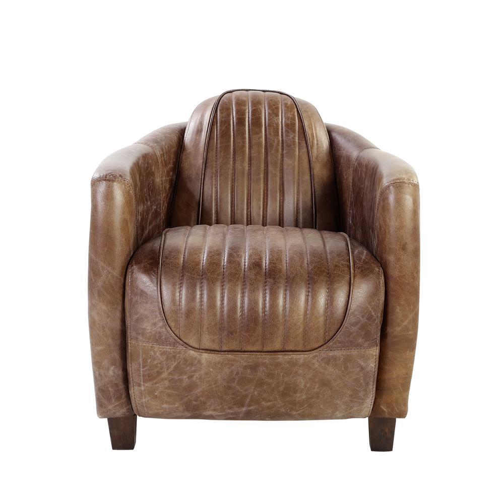 Brancaster Chair, Retro Brown Top Grain Leather & Aluminum. Picture 9