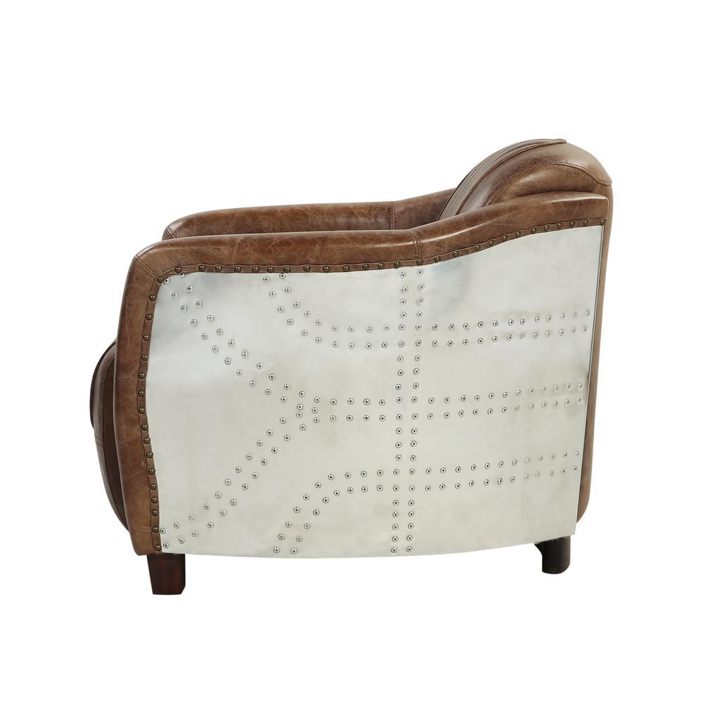 Brancaster Chair, Retro Brown Top Grain Leather & Aluminum. Picture 10