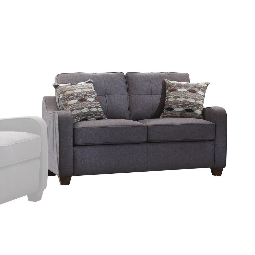 Cleavon II Loveseat w/2 Pillows, Gray Linen. Picture 1