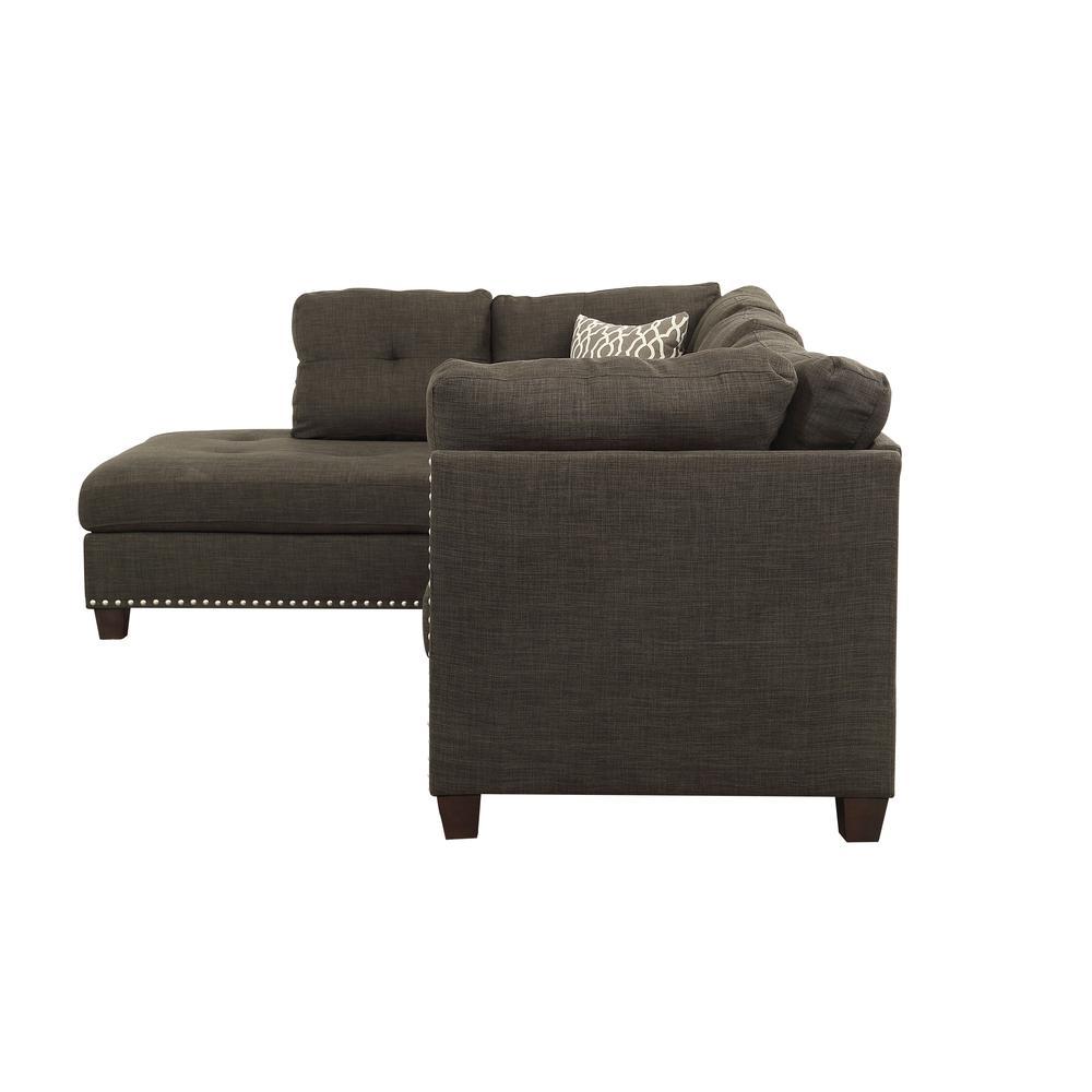 Laurissa Sectional Sofa & Ottoman (2 Pillows), Light Charcoal Linen (1Set/2Ctn). Picture 5