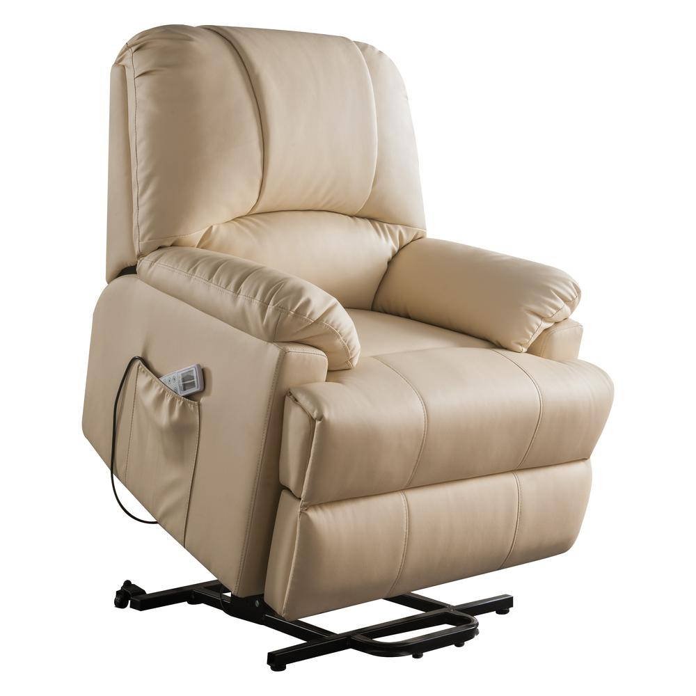 Ixora Recliner w/Power Lift & Massage, Beige PU. Picture 11