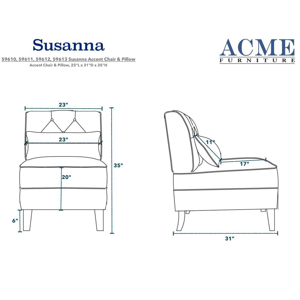 Susanna Accent Chair & Pillow, Blue Linen. Picture 1