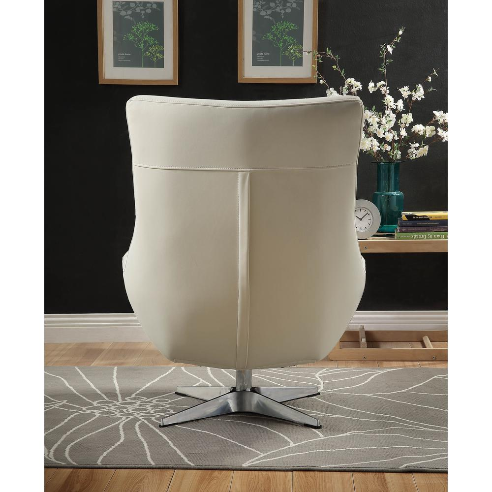 Eudora Accent Chair, White Leather Gel. Picture 4