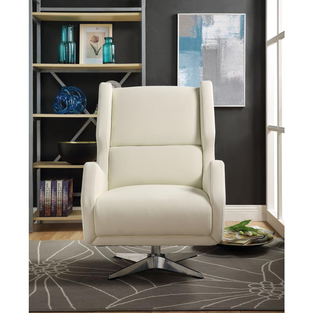 Eudora II Accent Chair, White Leather Gel. Picture 2