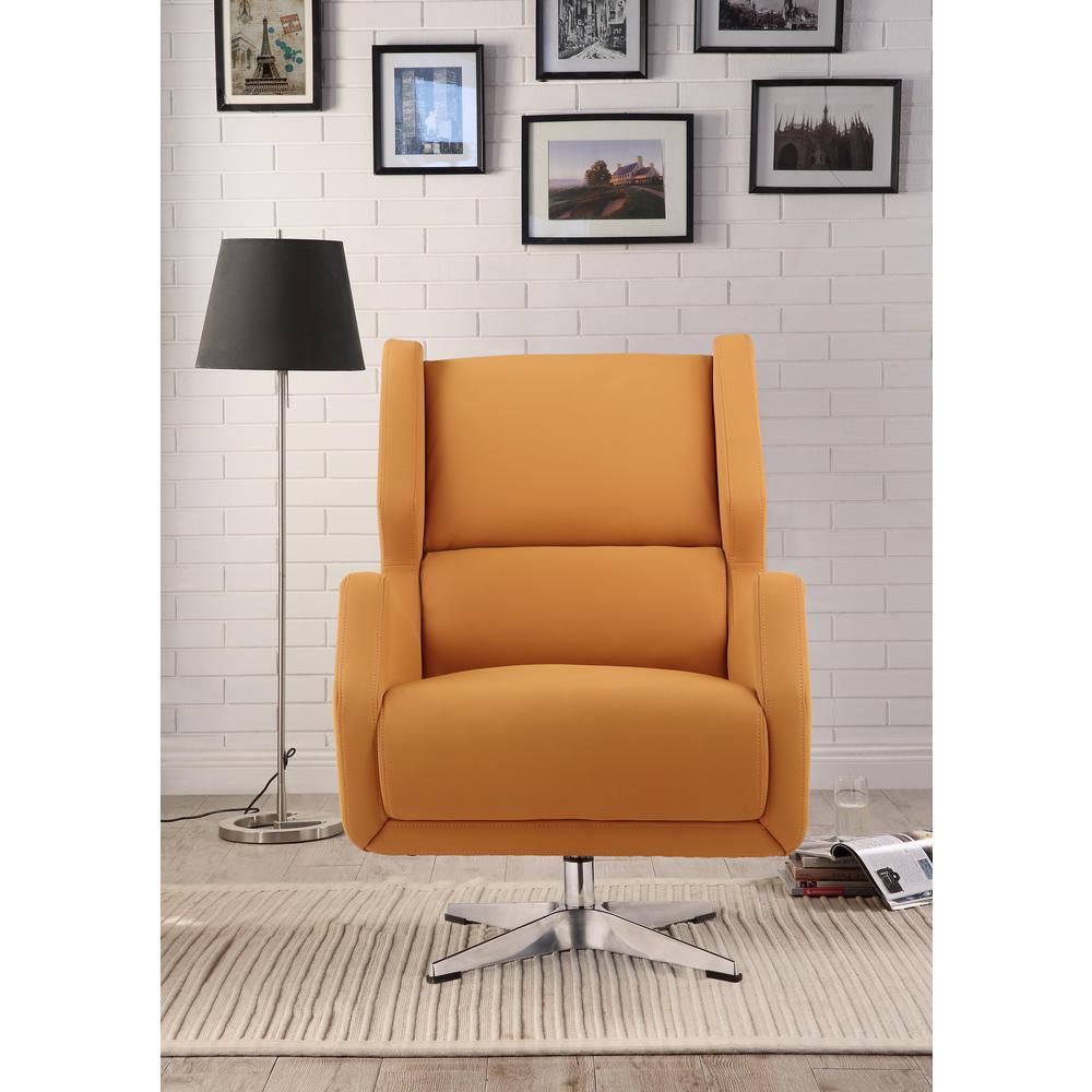 Eudora II Accent Chair, Orange Leather Gel. Picture 2