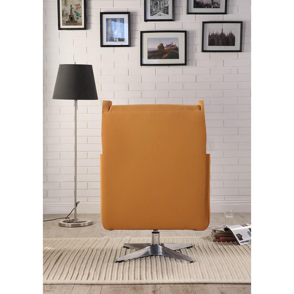 Eudora II Accent Chair, Orange Leather Gel. Picture 4
