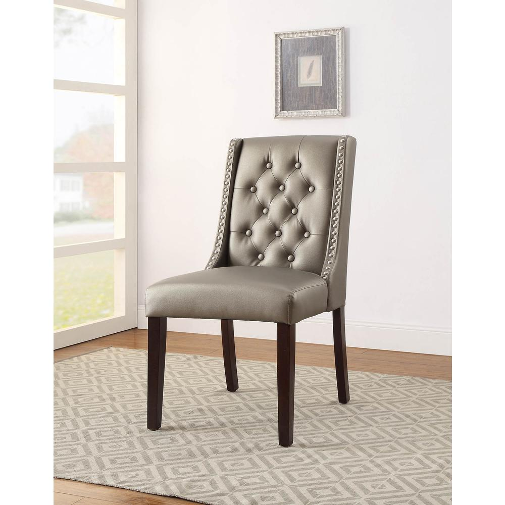 Brenda Side Chair (Set-2), Silver PU. Picture 8