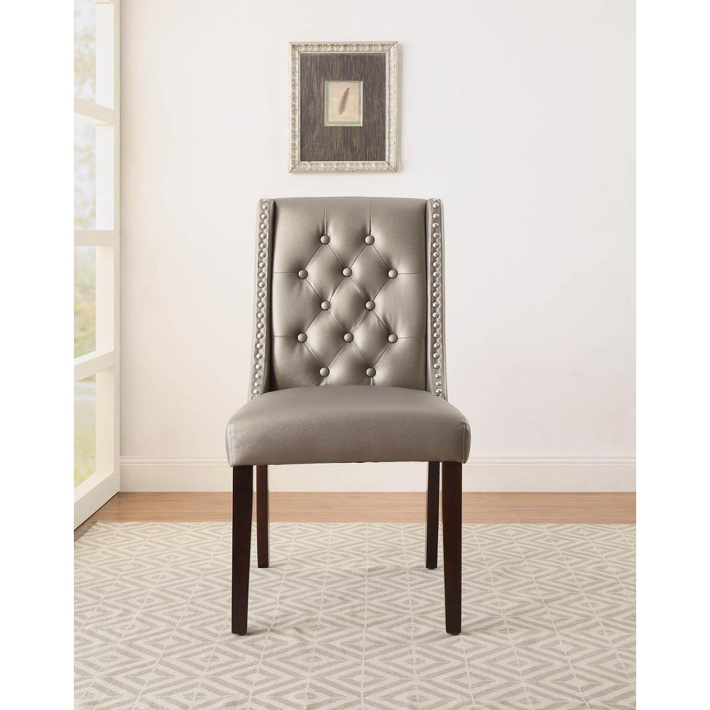 Brenda Side Chair (Set-2), Silver PU. Picture 10