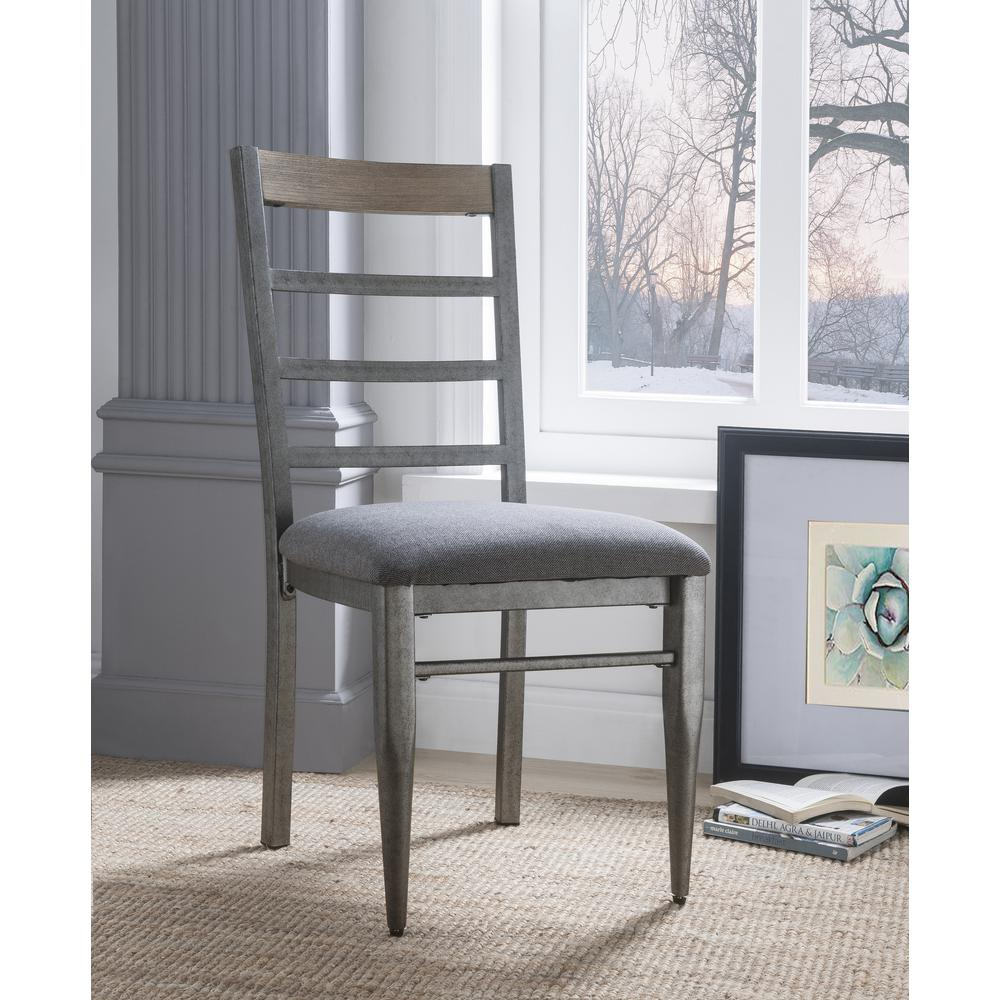 Ornat Side Chair (Set-2), Gray Fabric & Antique Gray. Picture 2