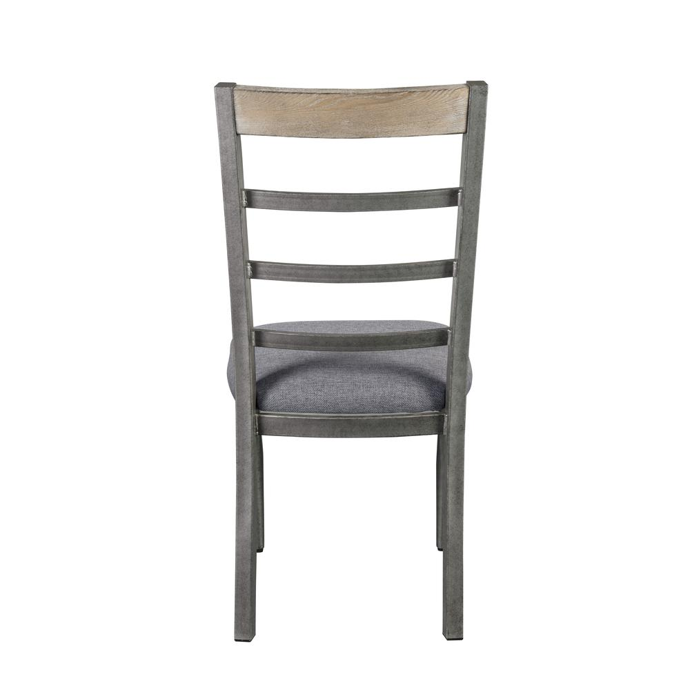 Ornat Side Chair (Set-2), Gray Fabric & Antique Gray. Picture 4