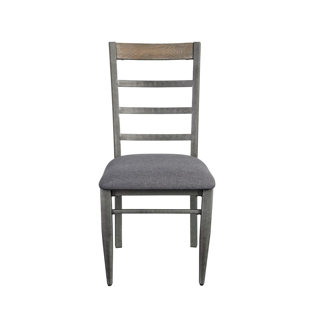 Ornat Side Chair (Set-2), Gray Fabric & Antique Gray. Picture 5